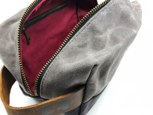 the DOPP KIT | waxed cotton canvas toiletry bag with leather handle (Cloud) by FAT FELT (Image #3)