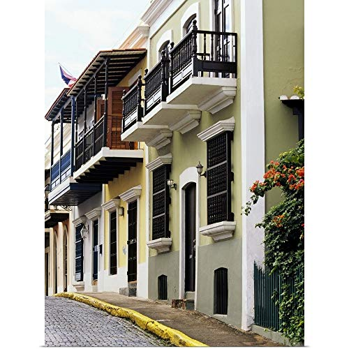 GREATBIGCANVAS Poster Print Entitled Low Angle View of Balconies of Buildings, Old San Juan, San Juan, Puerto Rico by 27