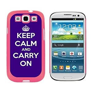 Keep Calm and Carry On Purple - Snap On Hard Protective Case for Samsung Galaxy S3 - Pink by ruishername