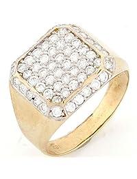 10k Solid Gold CZ Cluster High Polish Mens Ring