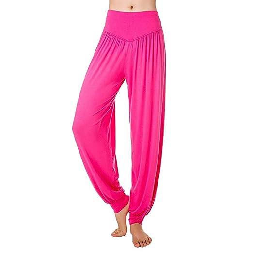Yopin Pantalones de Yoga para Mujer, Pantalones de Yoga, Pantalones de Yoga, Pantalones Largos, Rosa (b), Large