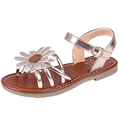 56f21e57f Litfun Kids Girls Gold Open Toe Strap Flat Flower Sandals (Toddler Little  Kid