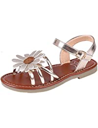 Kids Girls Cute Flower Open Toe Flat Strap Summer Sandals (Toddler/Little Kid/Big Kid)