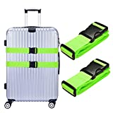 Hibate Luggage Strap Suitcase Baggage Travel Belts - Green, Pack of 2