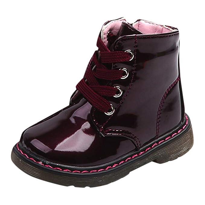 Cargador Corto del bebé,ZARLLE Zapatillas Antideslizante del niño, Niños Lace Up Zapatos Zapatos Calientes del Invierno del otoño Ocasional Artificial PU ...