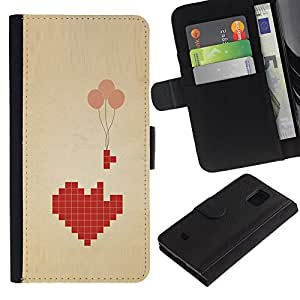 For Samsung Galaxy S5 Mini / Galaxy S5 Mini Duos / SM-G800 !!!NOT S5 REGULAR! ,S-type® Love Pixel Art Balloon Brown Beige Heart - Dibujo PU billetera de cuero Funda Case Caso de la piel de la bolsa protectora
