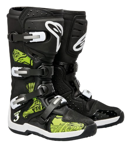 Alpinestars Tech 3 Men's Motocross Motorcycle Boots - Black/Green / Size 16