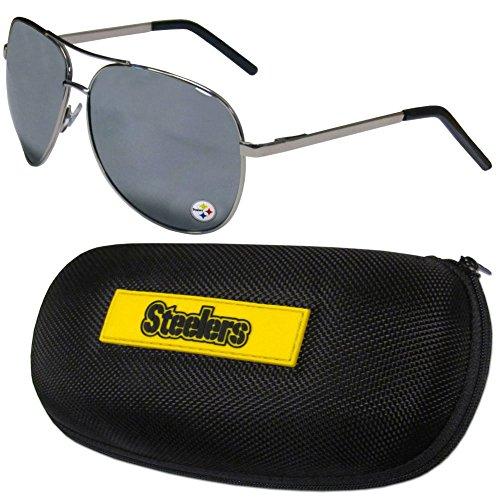 NFL Pittsburgh Steelers Aviator Sunglasses & Zippered Carrying - Pittsburgh Aviators