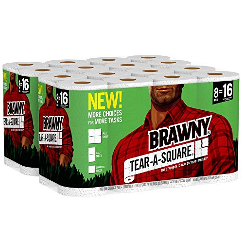 Brawny Tear-A-Square Paper Towels, Quarter Size Sheets, 16 Count (Kitchen Towel Rolls)