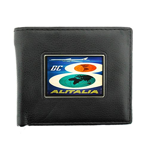 Black Bifold Leather Material Wallet D-076 DC Jet Airlines Alitalia
