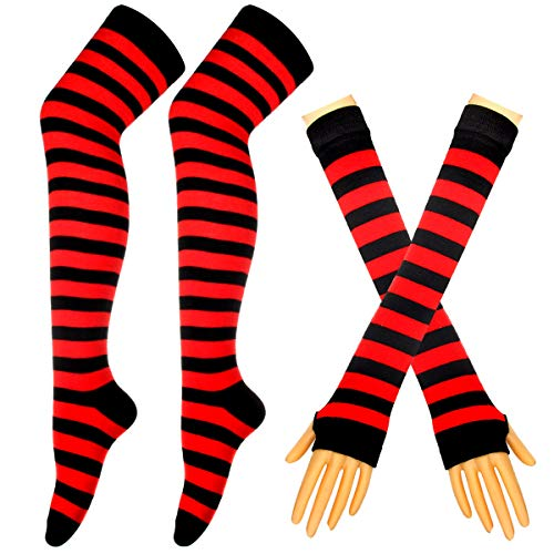 Colorful Rainbow Stripe Leggings Long Knit Gloves Socks Set Party Costume Accessory ()