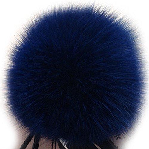 Faux Chains (Dikoaina Faux Fox Fur Pom Pom Keychain Bag Purse Charm Gold Ring Fluffy Fur Ball)
