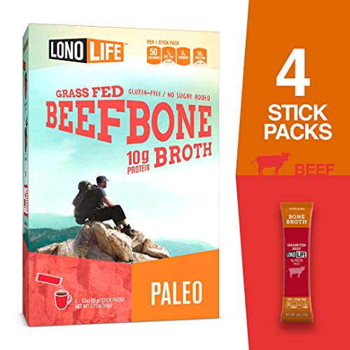 LonoLife Grass-Fed Beef Bone Broth Powder with 10g Protein, Stick Packs, 4 Count