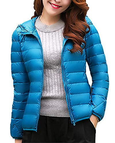 Women's ZiXing Coat Ultra Outdoor Lightweight Puffer Lake Down Hooded Warm Blue Jacket Packable drvxBqrEw