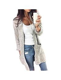 Jushye Women's Knit Cardigan, Ladies Casual Knitted Sleeve Sweater Coat Cardigan Jacket Outwear
