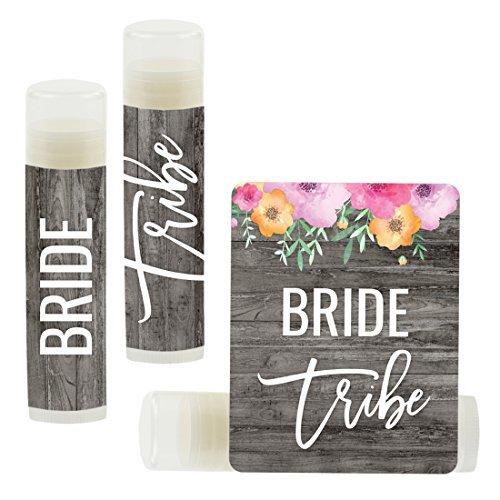 Andaz Press Bridal Shower Bachelorette Party Lip Balm Party Favors, Florals on Gray Rustic Wood, Bride Tribe, 12-Pack Bridal Shower Lip Balm