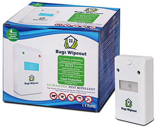 Ultrasonic Pest Control Repeller By Bugs Wipeout: 4 Eco-Friendly, Pet And Child Safe Electronic Solution For Insects, Rodents, Cockroaches, Non Toxic, Hygienic And Easy To Use by BUGS WIPEOUT