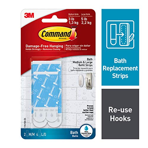 Command Bath Water-Resistant Replacement Strips, White, 2-Medium, 4-Large Strips - Strips Replacement Command