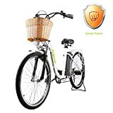 NAKTO 26' City Adult Electric Bicycles and Assisted Bicycle for Men Woman with Removable 36V 10A Large Capacity Lithium Battery and Charger