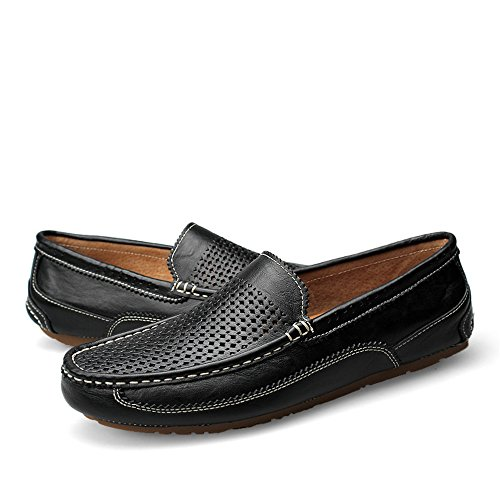 Color Hollow shoes Xiazhi Slip para livianos ala Vave Vamp EU Blue Negocios Formales Suela Punta Suave Hombres tamaño Edge de Hollow on Plana Mocasines 41 Black Mocasines de R1wdrqR