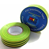 1 x GREEN/YELLOW (EARTH) ELECTRICAL PVC INSULATION / INSULATING TAPE 19mm x 20m - FLAME RETARDANT by Falcon workshops