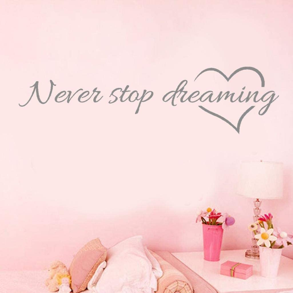 Amazon Com Never Stop Dreaming Quotes Wall Stickers Balakie Removable Wall Decals Bedroom Decor Murals Art Vinyl Wallpaper Gray Office Products
