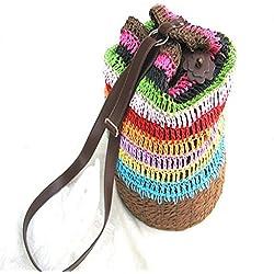 Bolsa tejida, bolsa de hombro tejida a mano Bolsa de compras bolsa Bolsa de playa de paja