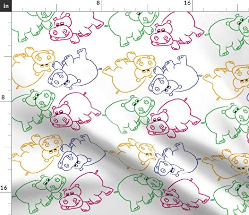 Spoonflower Hippo Fabric - Hippos Hippopotamus Animal Childrens Kids Coveredbydesign by Coveredbydesign Printed on Fleece Fabric by The - Hippo Fleece