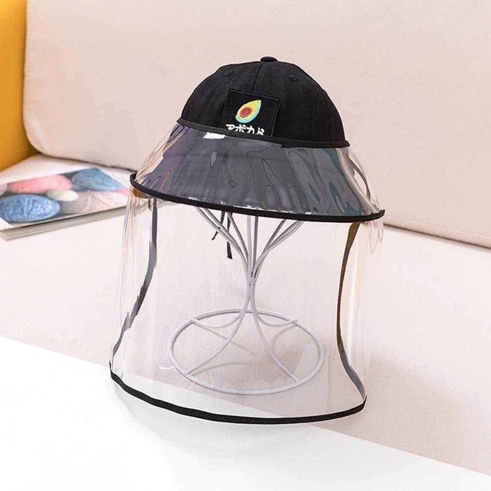 BWJL Excelente Casco Anti-escupir con una Cara extraíbles de plástico Transparente, Sun del Casquillo del Sombrero del tapón Antipolvo Fischer escupió niñas,Negro