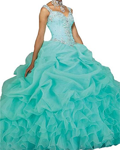 Dydsz Women's Quinceanera Dresses 2019 Ball Gown Sweet 16 Prom Dress Plus Size Turquoise D18 Turquoise 12 ()