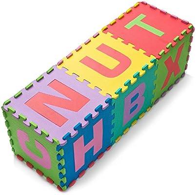8152994aa2 Leo & Emma - gioco di moquette 26 pezzi tappeto puzzle 26 lettere  dell'alfabeto A - Z