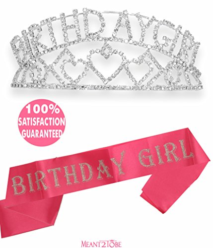 (Meant2ToBe Pink Birthday Girl Sash and Tiara, Birthday Girl Sash and Crown, Happy Birthday Party Supplies, Favors, Decorations 16th, 21st, 30th, 40th, 50th, 60th 70th 80th 90th Birthday)