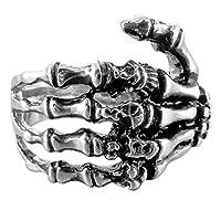 INBLUE Anillo de acero inoxidable para hombre Anillo plateado Cráneo negro Hueso de la mano Size7