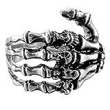 INBLUE Men's Stainless Steel Ring Band Silver Tone Black Skull Hand Bone Size7