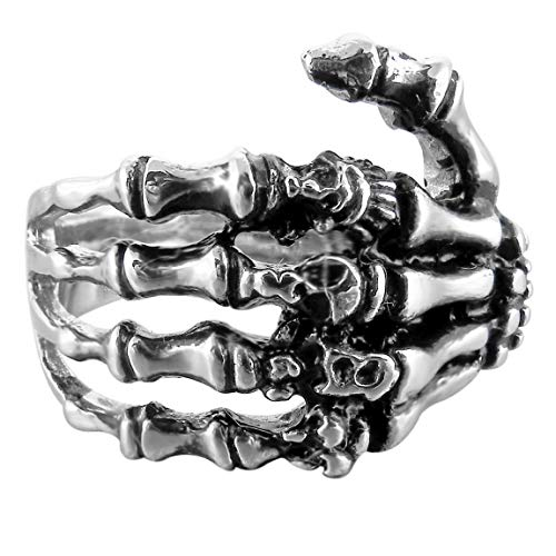 INBLUE Men's Stainless Steel Ring Band Silver Tone Black Skull Hand Bone Size10