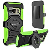 S7 Case, Galaxy S7 Case, Cellularvilla [Kickstand] [New Generation] Armor Rugged Holster Dual Layer Case Cover [Belt Swivel Clip] for Samsung Galaxy S7 (2016 Release) (Green Black)