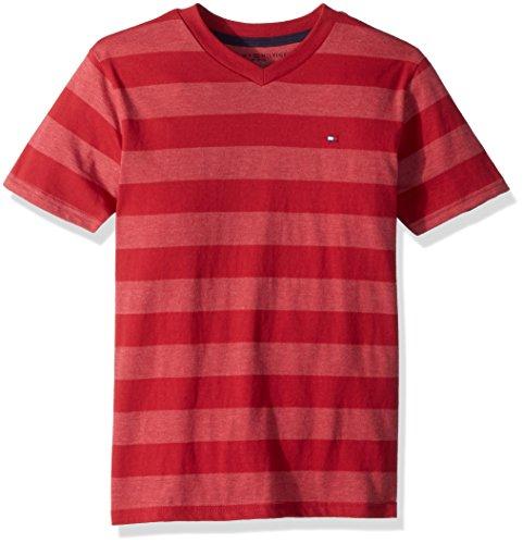 V-neck Jersey Jade - Tommy Hilfiger Boys' Little Short Sleeve Striped V-Neck T-Shirt, Jaden Regal Red, 4