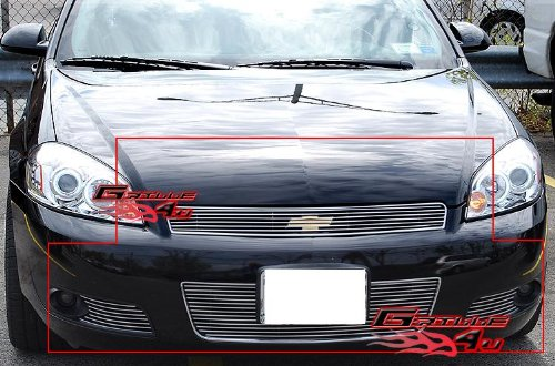 APS Fits 2006-2013 Chevy Impala Billet Grille Grill Insert Combo #C67817A