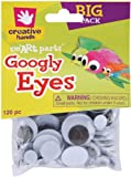 Creative Hands by Fibre-Craft – 5-30mm Black Glue-On Googly Eyes – Teaches Creativity – Multipurpose – 120 Pack