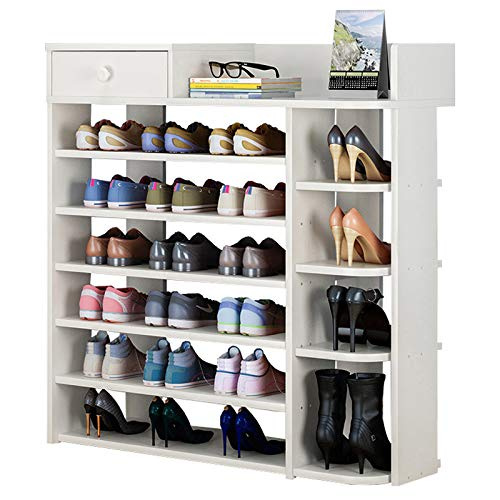 FKUO Multi-Layer Boots Shoe Rack Simple Household Storage Cabinet Shoe Cabinet Economic Storage Shelf Multi-Function Wooden Dust-Proof Shoe Rack (White, 7 Layer)
