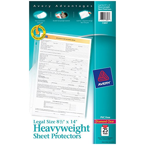 "Avery Heavyweight Diamond Clear Sheet Protectors, 8.5"" x 14"", Acid-Free, Easy Load, Legal Size, 25ct (73897)"