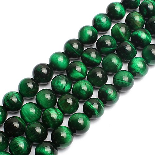 (Natural Green Tiger Eye Gemstone Round Loose Beads for Jewelry Making Findings Accessories 1 Strand 15 inches (10mm))
