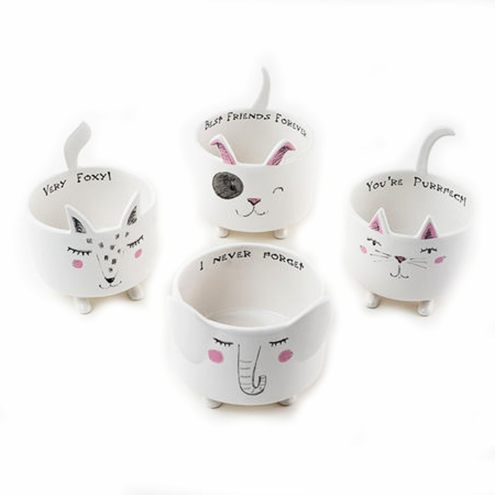 Animal Ceramic Bowls Set of 4