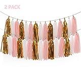 Derhom Tissue Paper Tassel Garland - 20pcs Tassels Per Package - 12 Inch Long Tassels (Gold/Pink(2Pack))