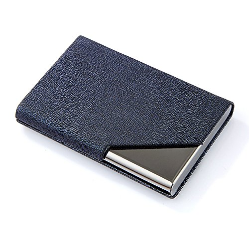 DMFLY Business Name Card Holder Luxury PU Leather & Multi Card Case, Business Name Card Holder Wallet Credit Card ID Case Holder for Women & Men - Keep Your Business Cards Clean (Blue)