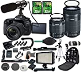 Canon EOS 80D DSLR Camera Bundle with Canon EF-S 18-55mm f/3.5-5.6 IS STM Lens + Canon EF-S 55-250mm f/4-5.6 IS STM Lens + 2pc 32 GB SD Cards + Microphone + LED Light