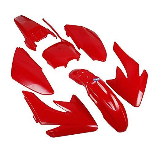 HMparts CARENATURA Set DIRT BIKE PIT BIKE CRF 70 - stile tipo 6 Rosso