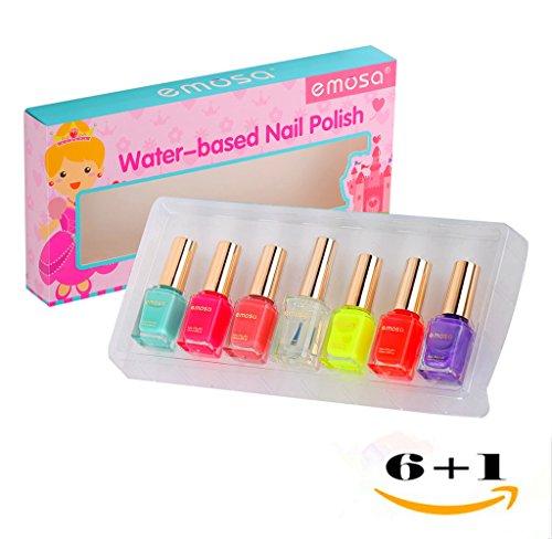 Emosa Nail Polish - Kid and Girls Non Toxic Water Based Fast Drying Peelable Nail Polish (Set of 7)-6 Colored Bottles with 1 Top Coat