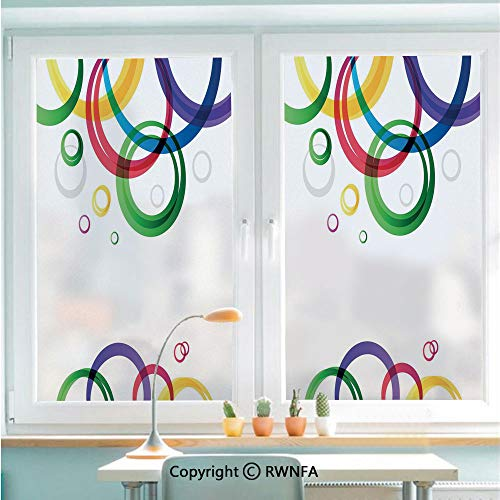 Non-Adhesive Privacy Window Film Door Sticker Lively Rings on White Background in Abstract Manner Festive Colors Pattern Decorative Glass Film 22.8 in by 35.4in(58cm by 90cm),White Emerald
