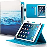 9.5-10.5 inch Universal iPad Case, Dteck Slim Folding Multi-angle PU Leather Magnetic Closure Case Cover [Cards/Money Slots] Flip Stand Wallet Protect Shell Case for All 9.5-10.5 inch Tablet,Peace Sea